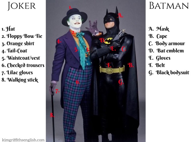 Costumes vocaulary for Batman and the Joker, kimgriffiths englsih.com