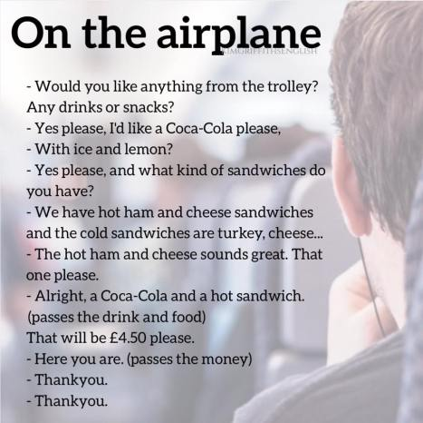 Asking for Food on the plane Kim Griffiths English