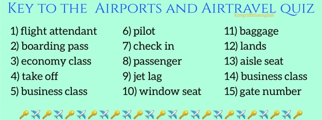 Air travel quiz Key. Kim Griffiths English