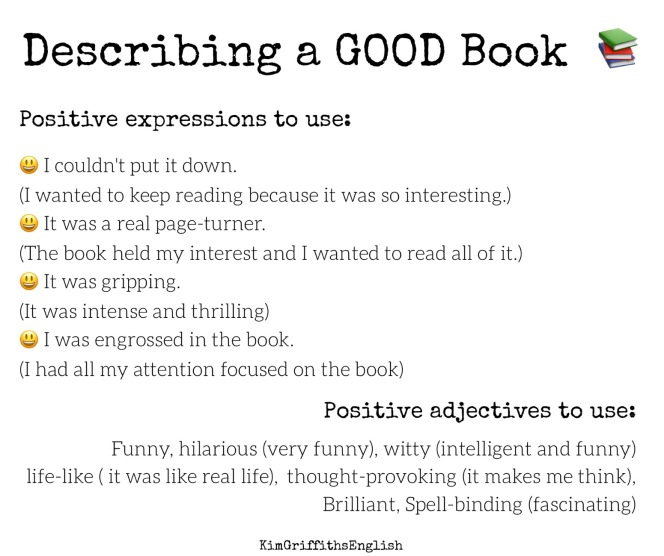 Describing a good book, Kim Griffiths English