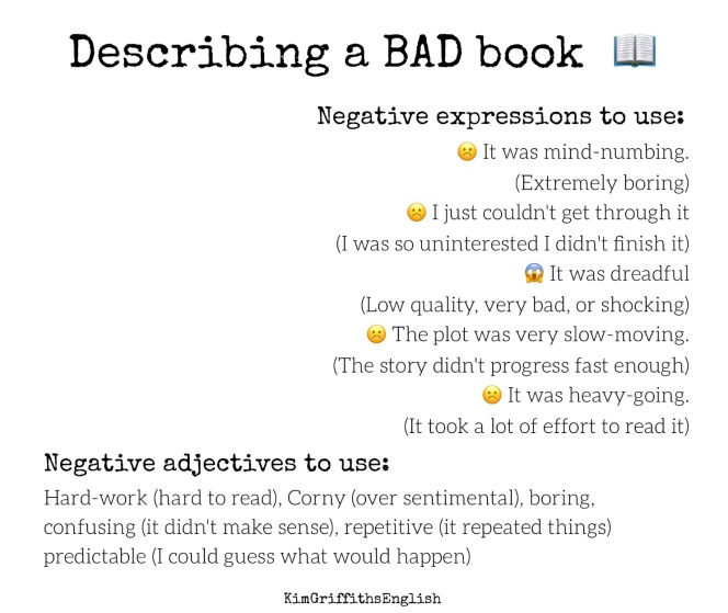 Describing a bad book, Kim Griffiths English
