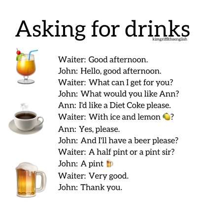English class, ESL, asking for drinks in a cafe. kimgriffithsenglish