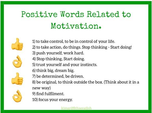 Motivation positive vocabulary