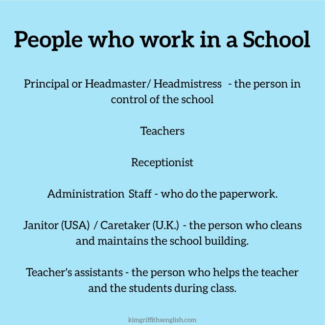 People who work in a School, kimgriffithsenglish