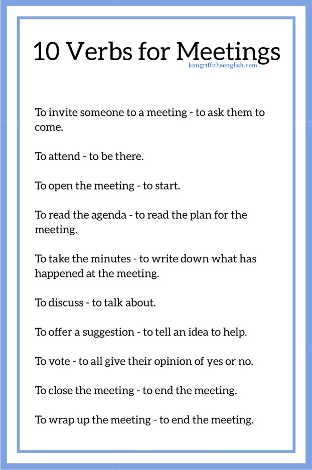 10 verbs for meetings KimGriffithsEnglish