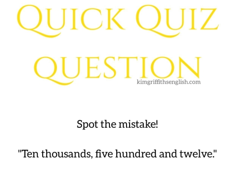 Spot the mistake numbers quiz question. KimGriffithsEnglish for English learners ESL