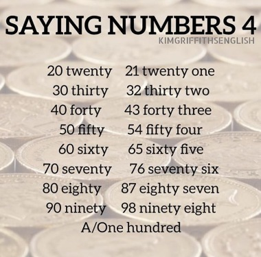 How to say the numbers 20 to 100, for English learners, kimgriffithsenglish.com blog