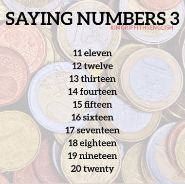 Numbers spelling, 11 to20, for learners of English, Kim Griffiths English blog