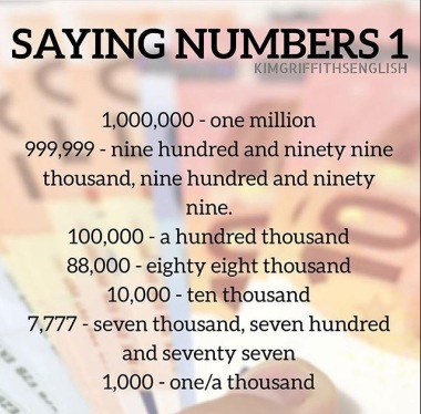 How to write long numbers, Kim griffiths English, a great blog for learners of English