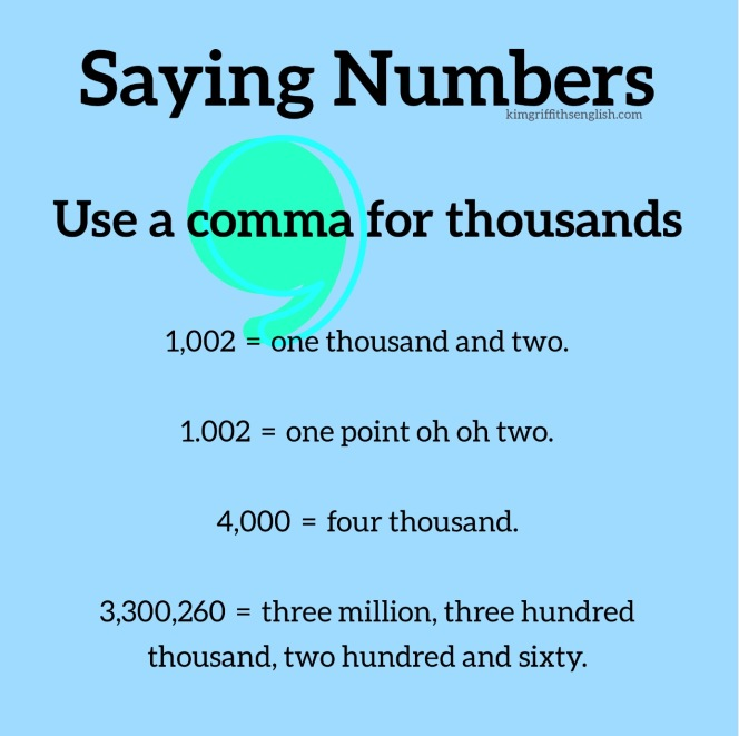 Use a comma for thousands. English numbers article for English learners. KimGriffithsEnglish.com