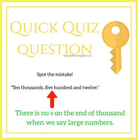 Numbers quiz question answer key! Kim griffiths English blog, for learners of English ESL