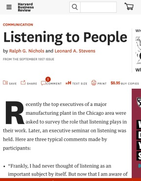 Listening to People, Harvard Business Review 1957.