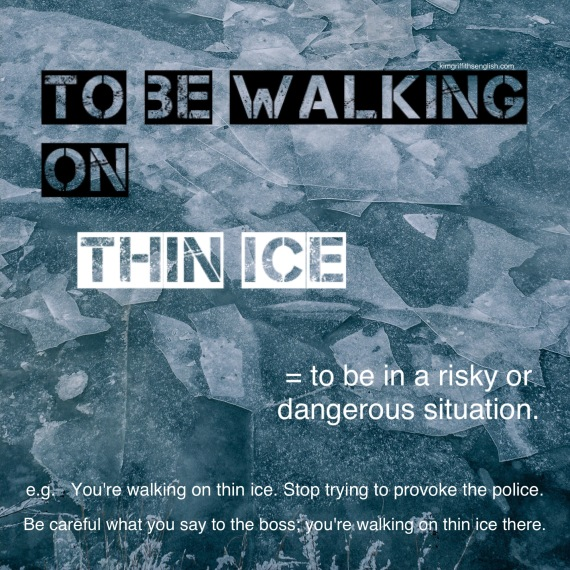 English idiom, to be on thin ice. Visit the blog to learn more about this a words connected with ice and snow. www.kimgriffithsenglish. The blog. To learn, improve and practice your English. Aprenda inglés con este blog de Ingles para extranjeros. Vocabulario y idioms sobre nieve y hielo esta semana. Is it snowing where you are?