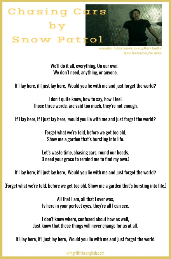 Lyrics to Snow Patrol's Chasing cars, from the article Talking about snow and ice, on the web page kimgriffithsenglish.com, the blog to learn and practice English ESL