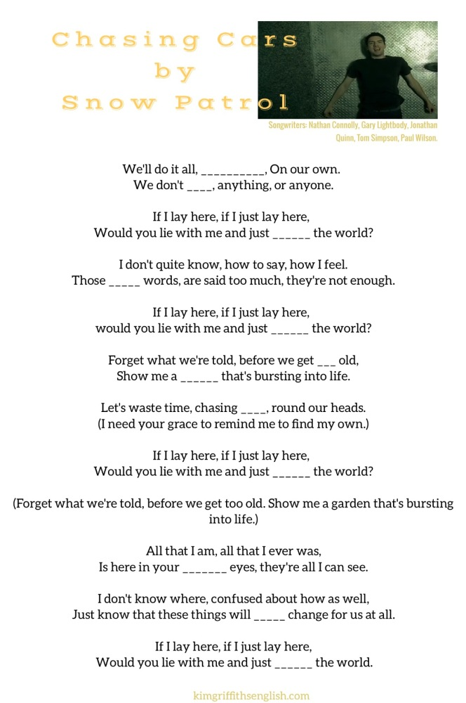 Listening practice, Snow Patrol, Chasing Cars. The blog to learn and practice English ESL. Is it snowing where you are? Talking about snow and ice. www.kimgriffithsenglish.com