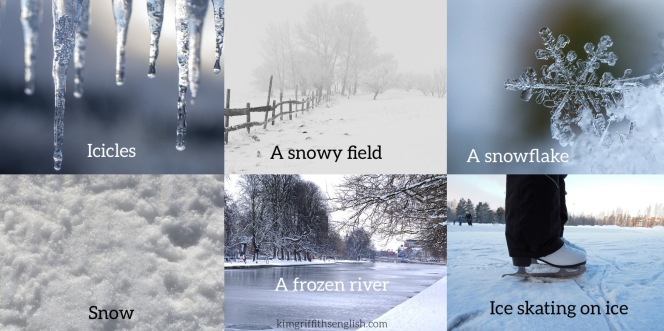 Snow Vocabulary. Is it snowing where you are? Talking about snow and ice. www.kimgriffithsenglish.com the web page to improve and practice your English ESL. APRENDA INGLÉS. Vocabulario de invierno.