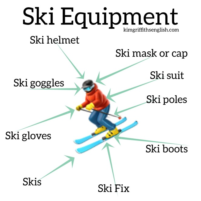 Ski Equipment, kimgriffithsenglish.com the blog to leArn English.