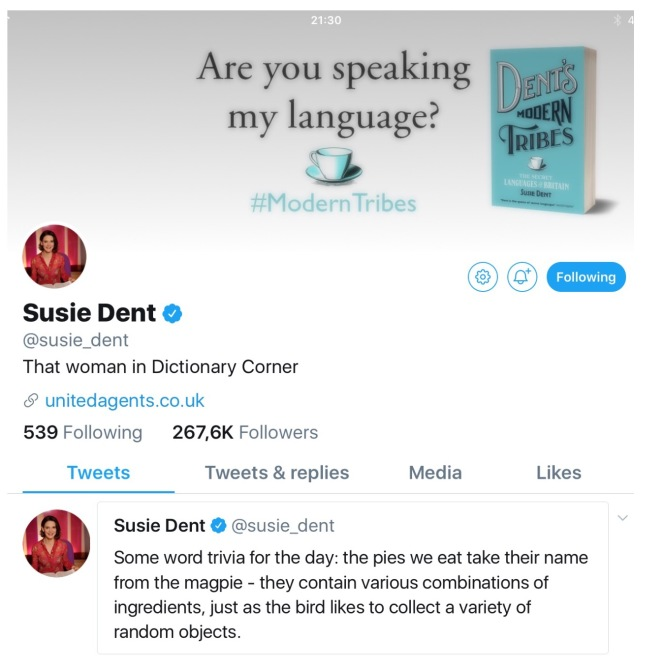 Susie Dent on twitter
