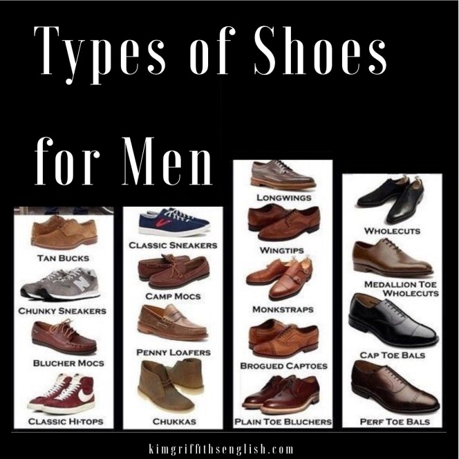 Types of men's shoes from the article If the shoe fits, kimgriffithsenglish.com. The webpage to Improve and practice your English