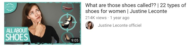 Types of ladies' shoes video by Justine Leconte, from the article If the shoe fits, kimgriffithsenglish.com. The webpage to Improve and practice your English
