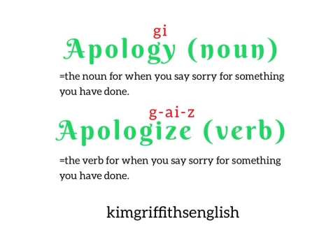 Pronunciation Apology, from the English page kimgriffithsenglish, the place to improve and practice your English