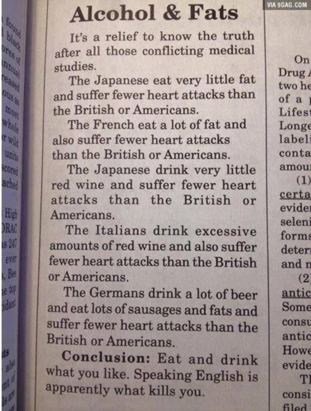 Alcohol and Fats. a newspaper clipping from the science scoop. My Top 6 for English Learners from April. kimgriffithsenglish.com the web page to practice and improve your English.