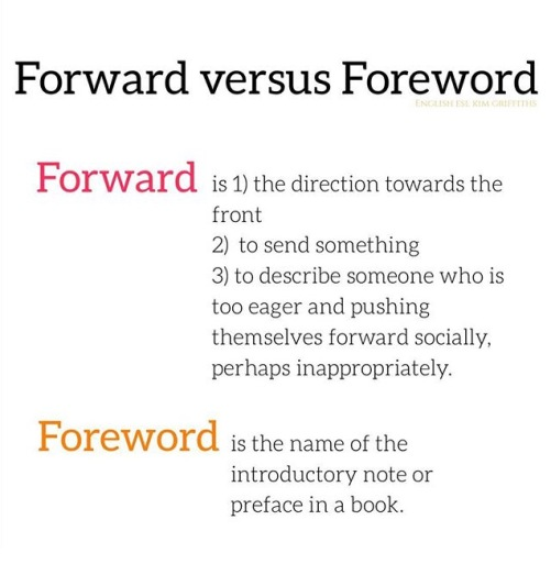 Forward versus Foreword. Tricky words. From the blog Do you know why these 8 words are tricky, on www.kimgriffithsenglish.com the blog to learn and improve your English.