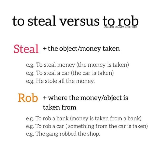 Steal versus rob. Tricky words. From the blog Do you know why these 8 words are tricky, on www.kimgriffithsenglish.com the blog to learn and improve your English.
