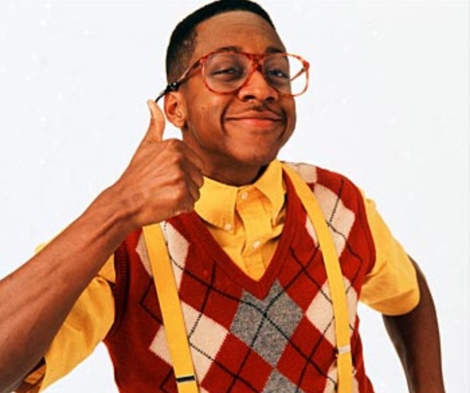 Steve Urkel, the character from the tv series, is basically a nerd. Loves studying, uses long words and doesn't concentrate on his clothes and style too much.