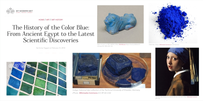 The history of the colour blue from My Met Mdernicle on the teaching English webpage www.kimgriffithsenglish.com