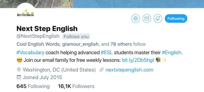 Next Step English Twitter Account
