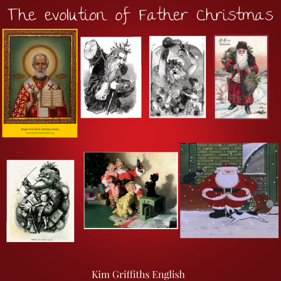 The evolution of Father Christmas. I do not own these images and I do not intend any copyright infringement.
