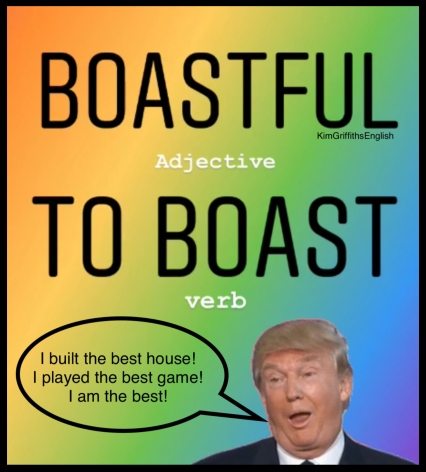 Boastful, to boast.How to describe a bad person, bad character Adjectives, idiom and more. from the English as a second language teaching blog - @kimgriffithsenglish