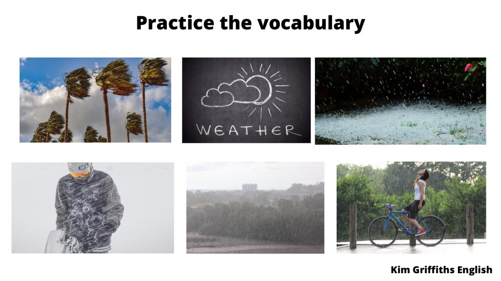 5 types of weather photo, weather vocabulary, kimgriffithsenglish.com
